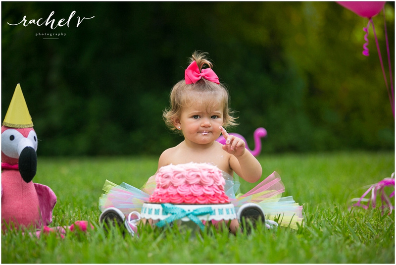 Piper's First Birthday photos and cake smash at Mead Garden in Winter Park Florida