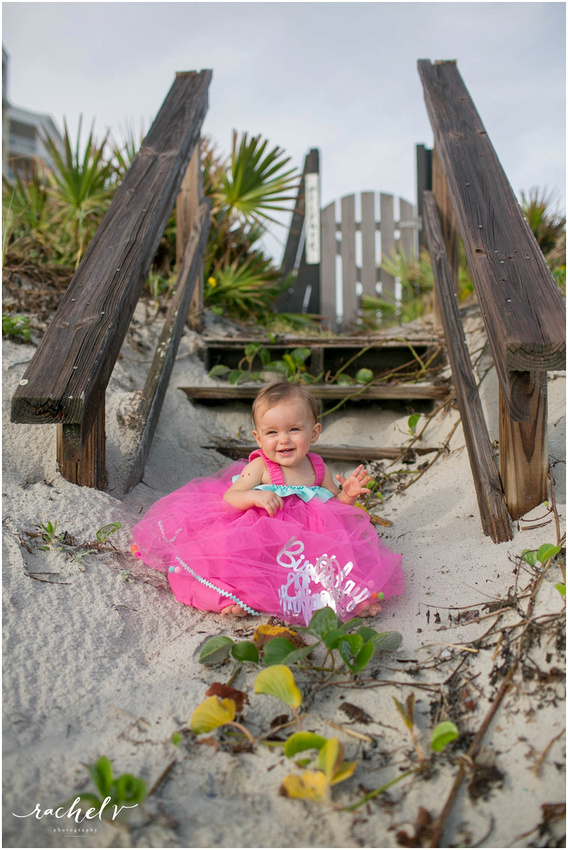 First birthday photos at New Smyrna Beach, Florida with Rachel V Photography