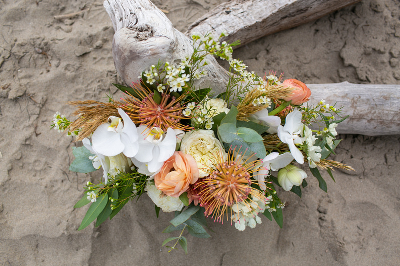 Intimate beachside wedding in Santa Barbara, California. Personalized details and a misty cliffside beach made this a wedding to remember.