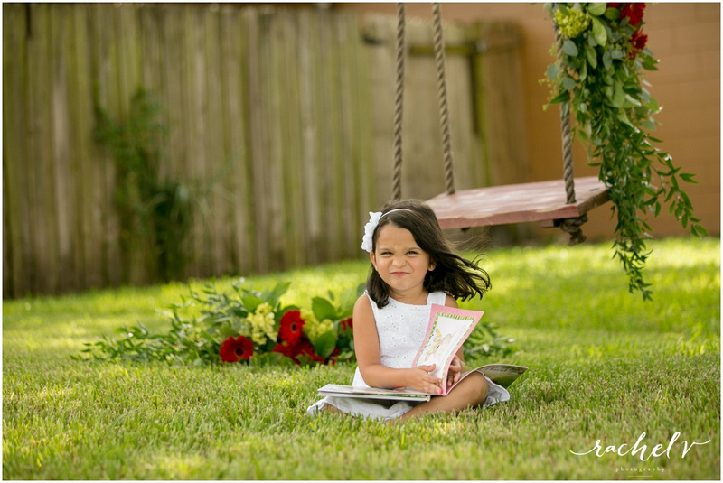 Backyard Birthday shoot on a flower decorated swing with Rachel V Photography