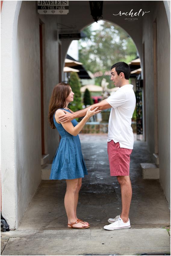 Rainy summer engagement shoot in Winter park Florida