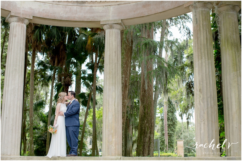 Summer wedding at Kraft Azalea Garden in Winter Park, Florida with reception at Johnny's Hideaway