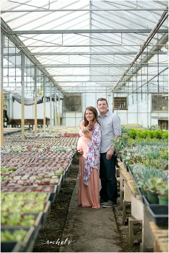 Greenhouse Maternity session at Florida Cactus in Apopka, FL with Rachel V Photography