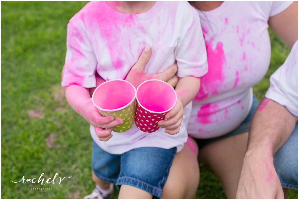 Powder chalk gender reveal in Orlando, Florida with Rachel V Photography