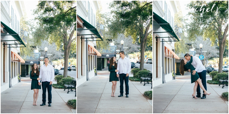 Kate and Travis, Winter Park Florida Engagement session on Park Ave with Rachel V Photography