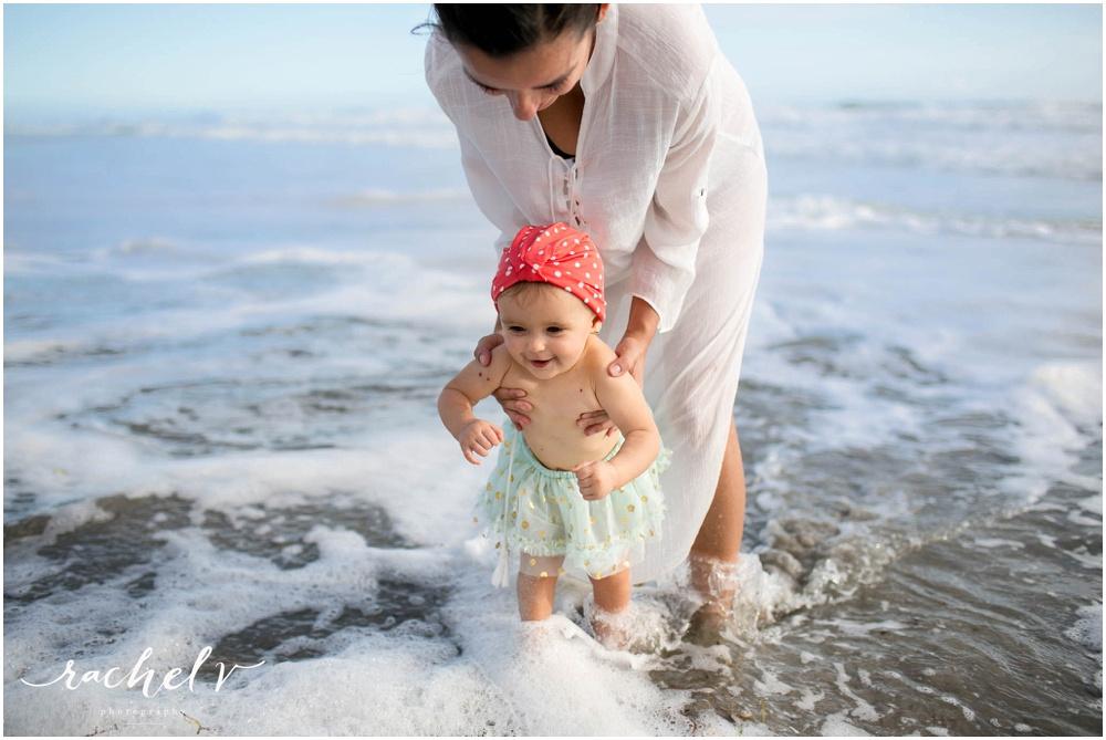 First birthday photos at New Smyrna Beach, Florida with Rachel V Photography