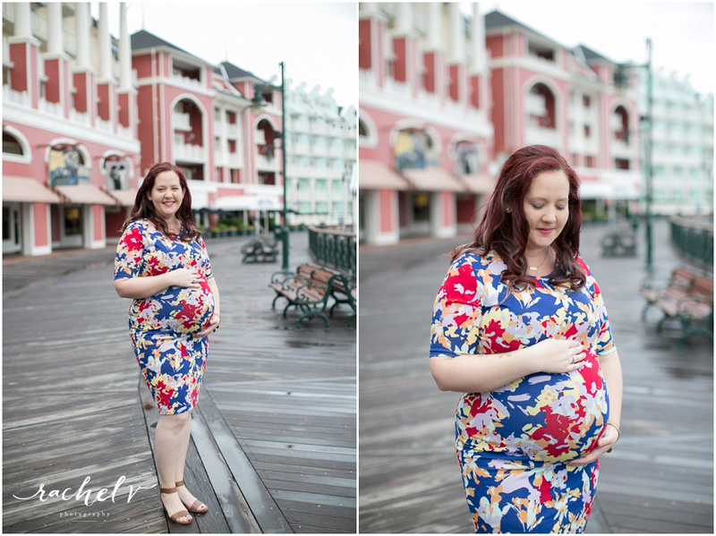 Melissa Creates family Maternity session at Disney Boardwalk in Orlando, Florida with Rachel V Photography