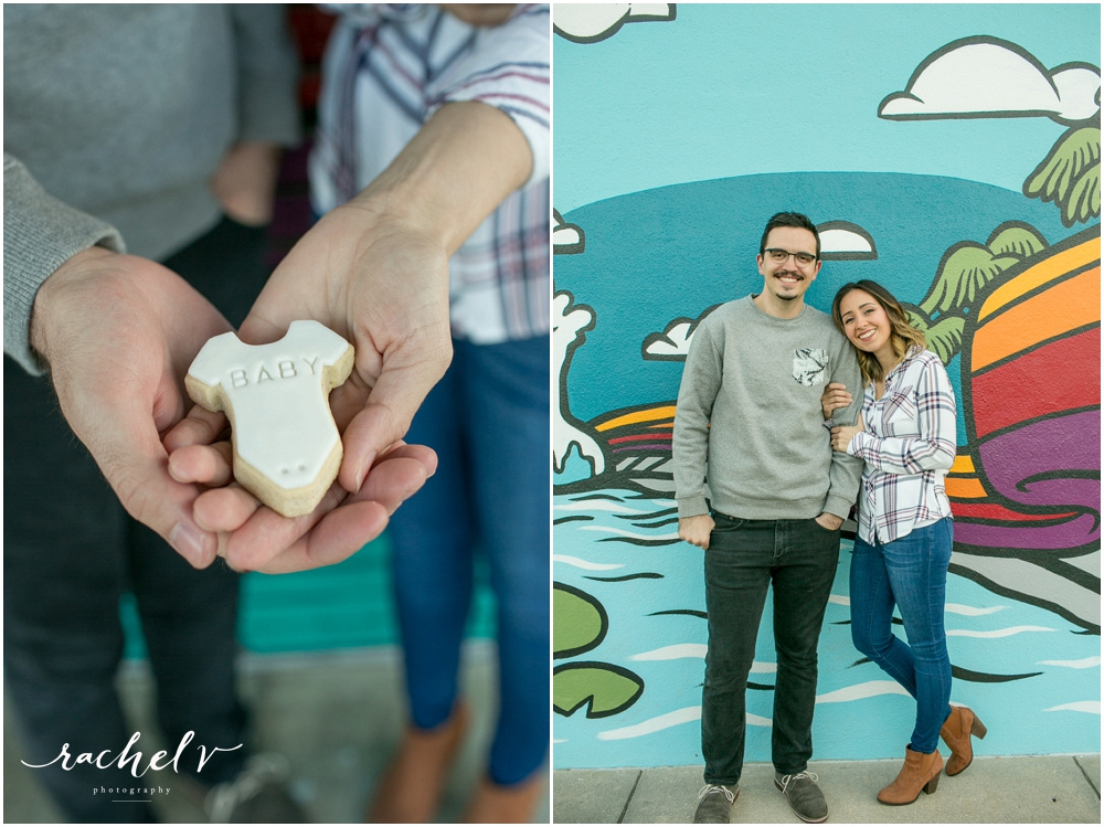 Mona with Merci Bakery, pregnancy announcement photoshoot in College Park, Florida with Rachel V Photography