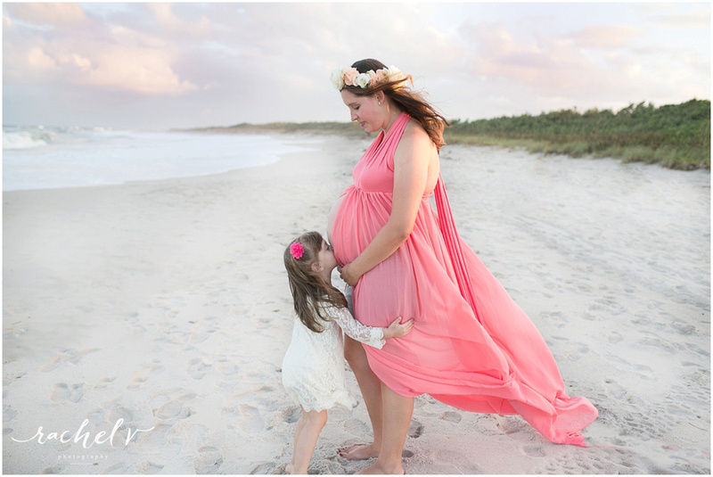 Sunset seaside Maternity session at Sebastian Inlet State Park, Florida with Rachel V Photography