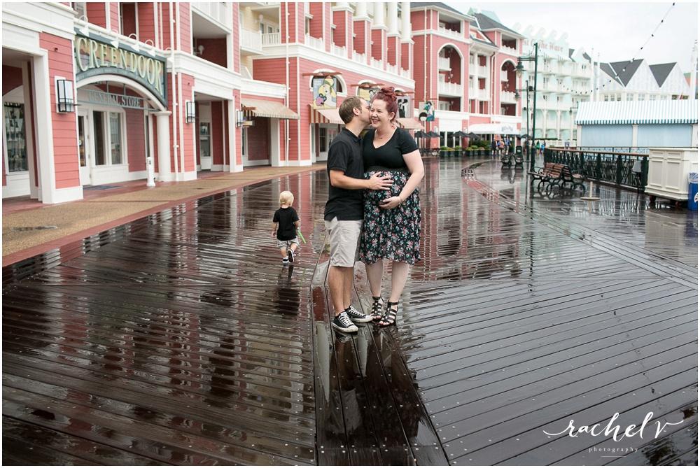 Melissa Creates family Maternity session at Disney Boardwalk in Orlando, Florida with Rachel V Photography